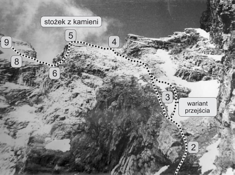 zbliżenie na środkowy fragment wspinaczki na Górę Czerskiego