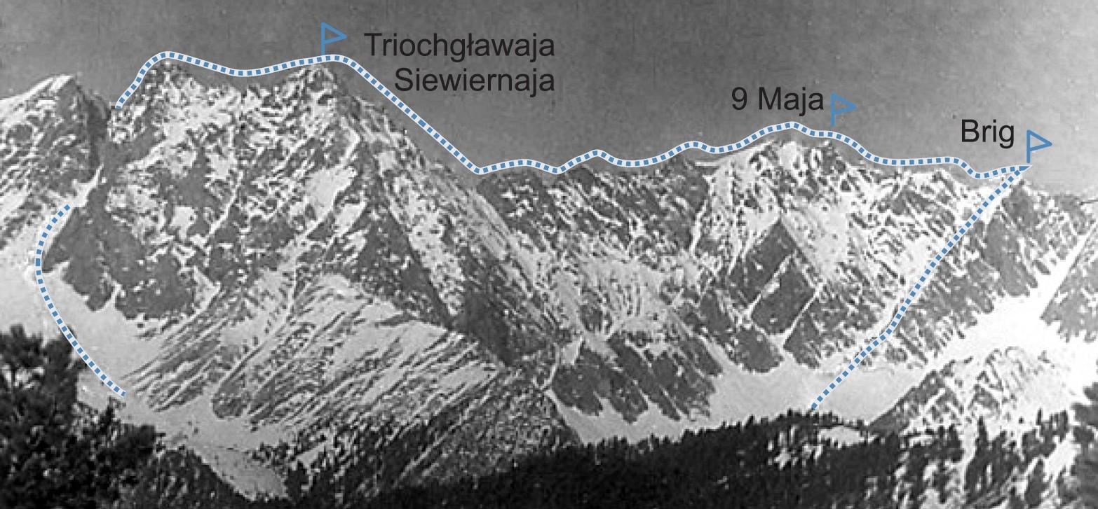 Przebieg trawersu Brig-9 maja-Triochgławaja
