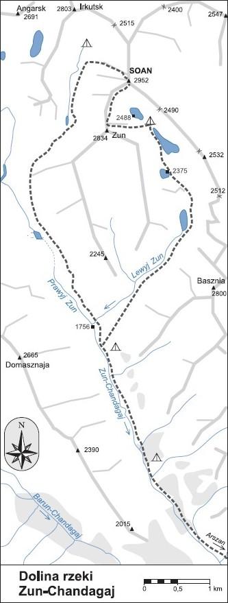 Mapa przebiegu szlaków górskich w dolinie rzeki Zun-Chandagaj