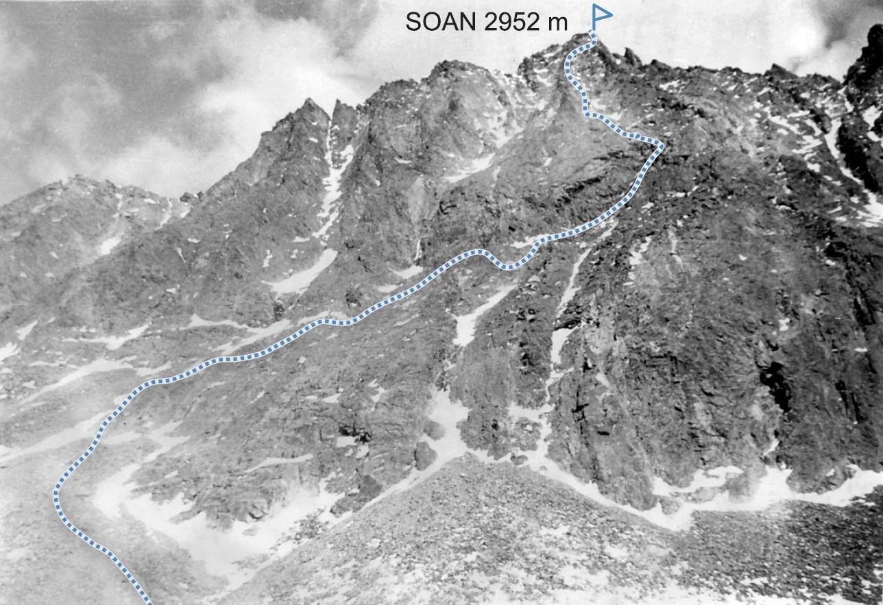 schemat trasy wejścia na SOAN po południowo-zachodniej grani