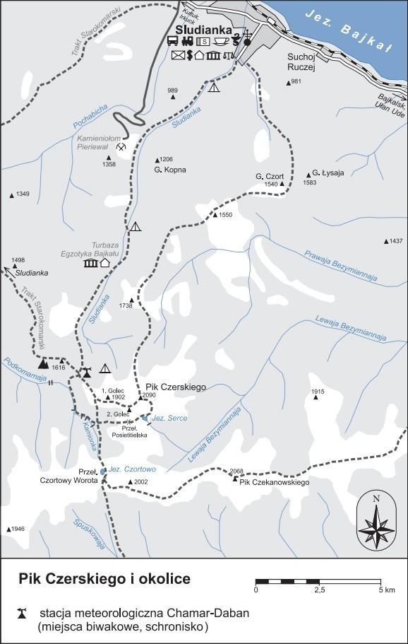 mapa szlaków górskich w okolicach Piku Czerskiego