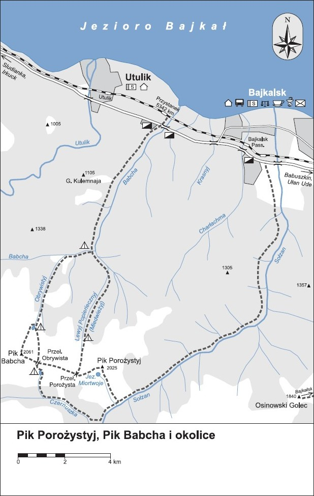 mapa szlaków górskich w okolicach Bajkalska