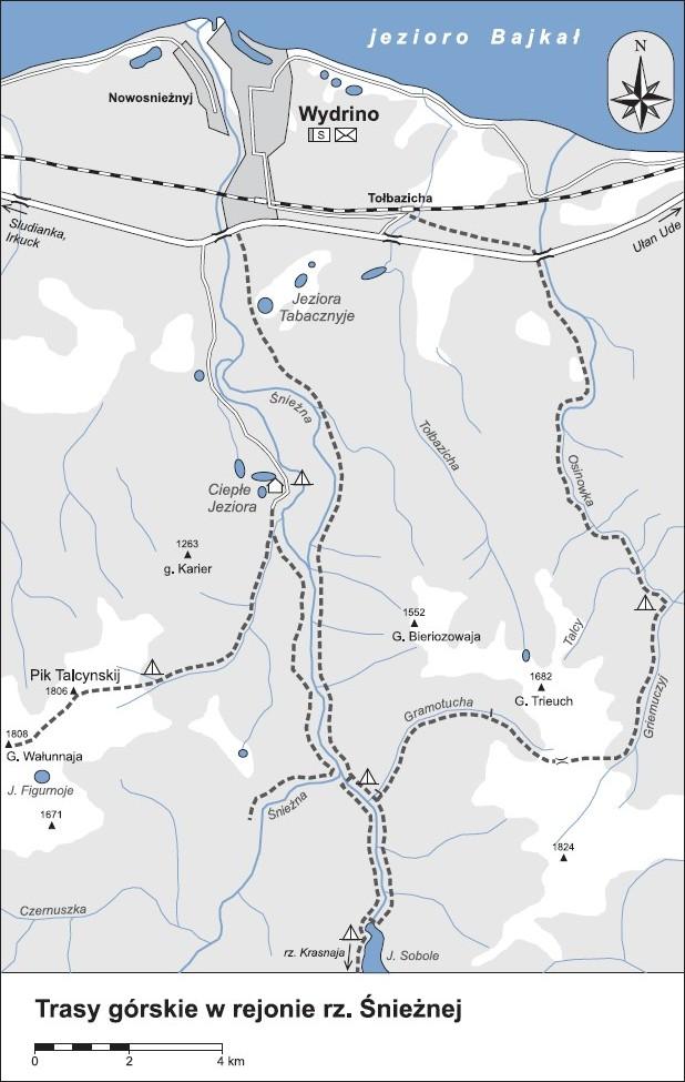 mapa szlaków górskich w okolicach rzeki Śnieżnej