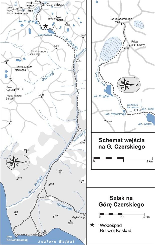mapa szlaków górskich w okolicach Góry Czerskiego